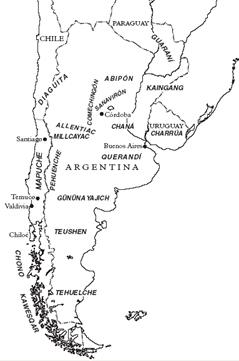 Kaart van de inheemse talen van de zuidpunt van Zuid-Amerika.